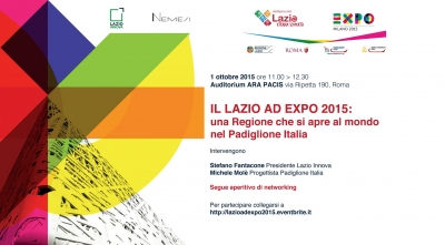 LAZIO at EXPO 2015: a region that is opened to the world in the Italian Pavillion
