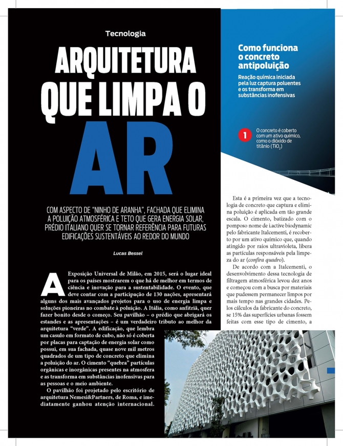 Istoe, Arquitetura que limpa o AR, May 2014, pag 108-109, Luca Bessel