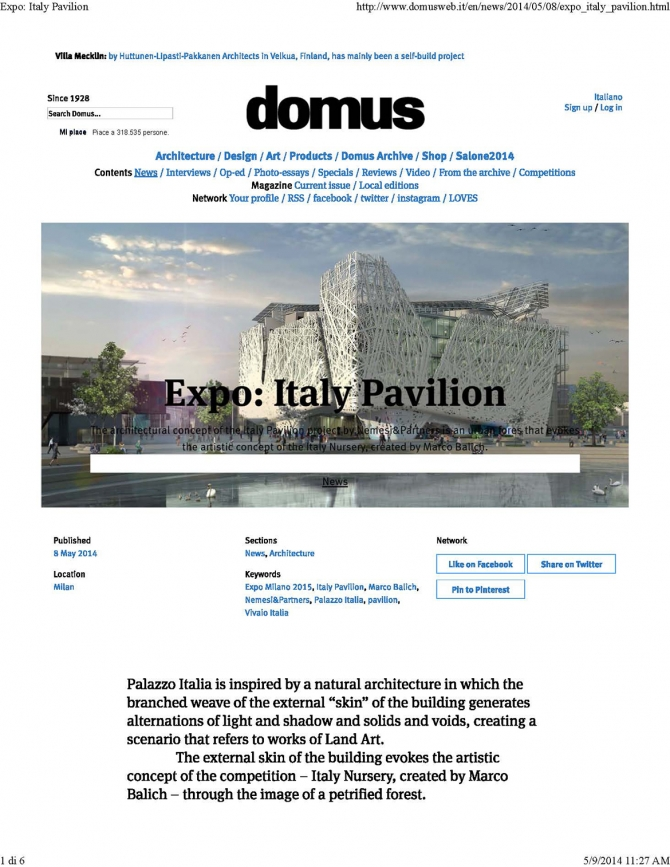 www.domusweb.it, Expo: Italy Pavilion