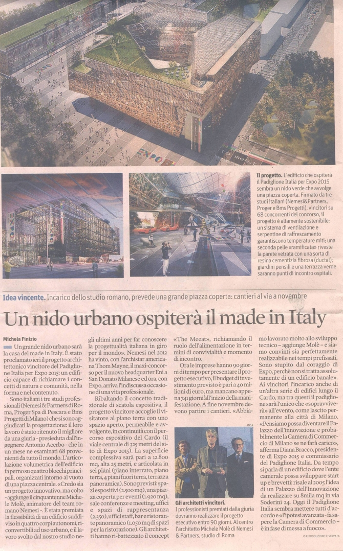 Il Sole 24 Ore, Un nido urbano ospiterà il Made in Italy, April, 20, 2013, pag. 8, Michela Finizio