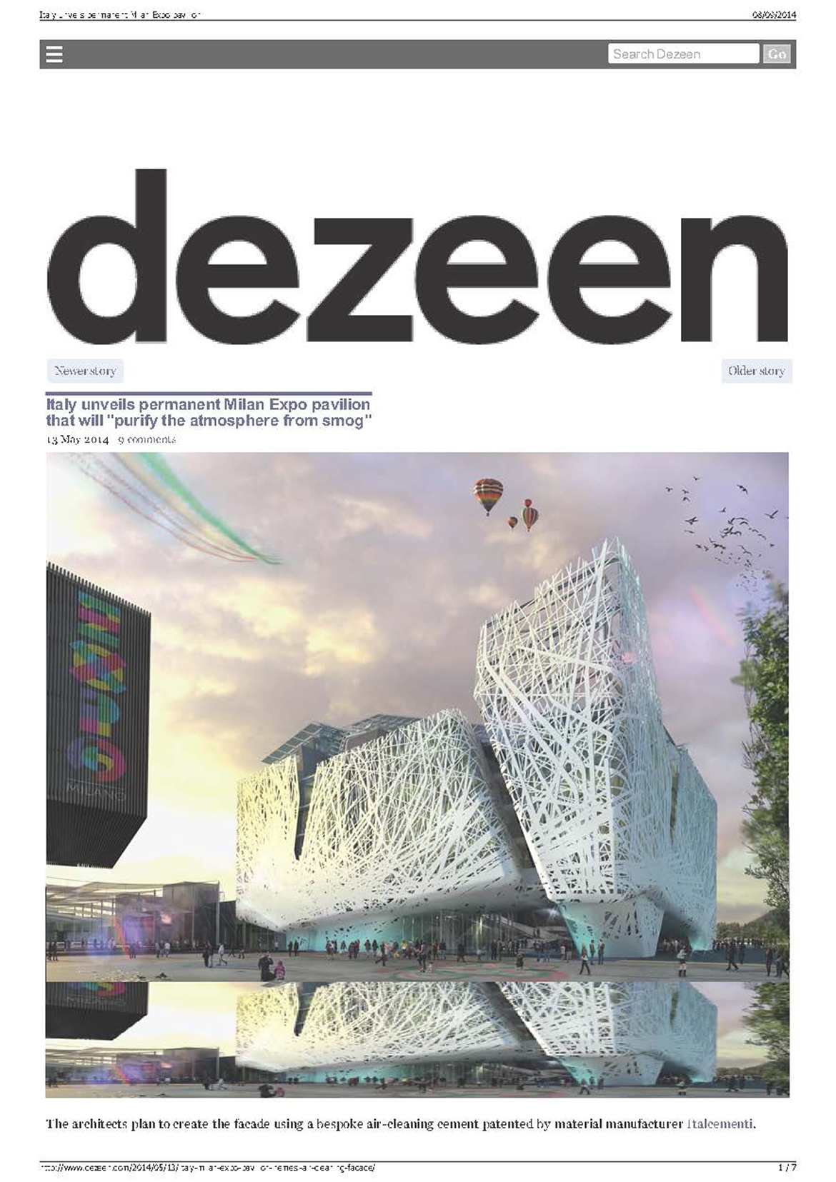 "www.dezeen.com, Italy unveils permanent Milan Expo pavilion that will ""purify the atmosphere from smog"""
